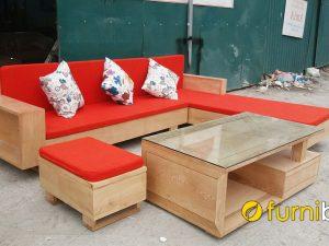 bàn ghế sofa gỗ sồi góc L đẹp hiện đại
