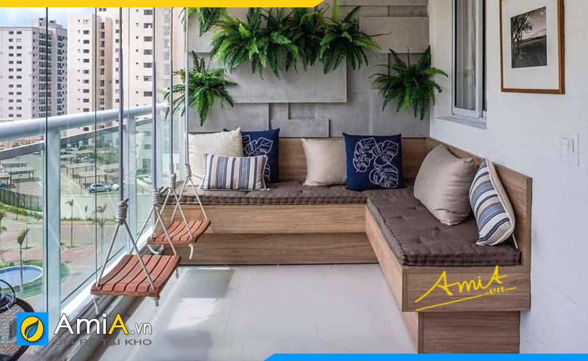 Sofa gỗ góc chữ L kê ban công siêu tiết kiệm không gian